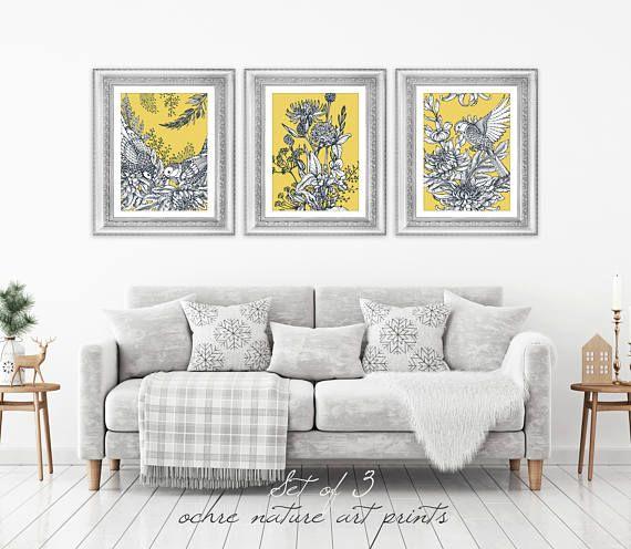 Set Of 3 Mustard Yellow Decor Yellow Wall Art Yellow Grey Etsy Mustard Yellow Decor Yellow Wall Art Yellow Decor