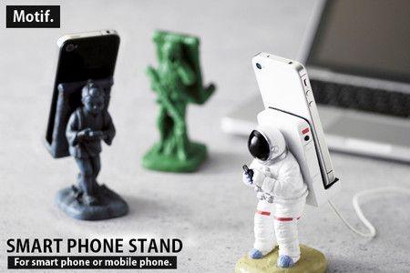 iPhoneスタンド スマホスタンド 宇宙飛行士 アーミー 二宮金次郎