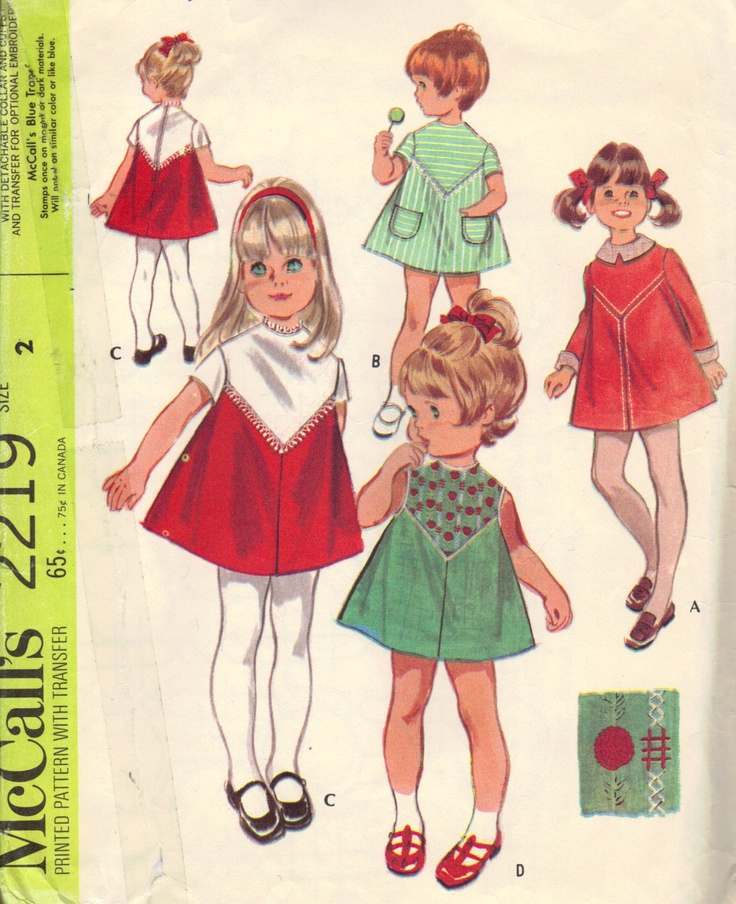 McCall's #Sewing #Pattern 1960s Toddler Girls #Dress Detachable Collar Embroidery Transfer Pattern , via Etsy.