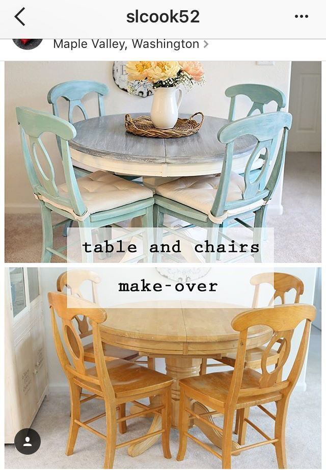 table redo with cream and a drift wood top and a soft aqua paint for the chairs #ChairMakeover