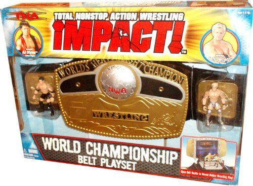 """Total Non Stop Action TNA World Wrestling Championship Belt Playset - Includes AJ Styles and Jeff Jarrett 3"""" Mini Figures by Marvel. $12.99. Includes AJ Styles and Jeff Jarrett 3"""" Mini Figures. Belt buckle slides off to reveal wrestling ring playset. The NWA World Heavyweight Championship is the most prestigious and longest recognized World title in professional wrestling. Sanctioned by the National Wrestling Alliance, it has been defended around the world and ha..."""