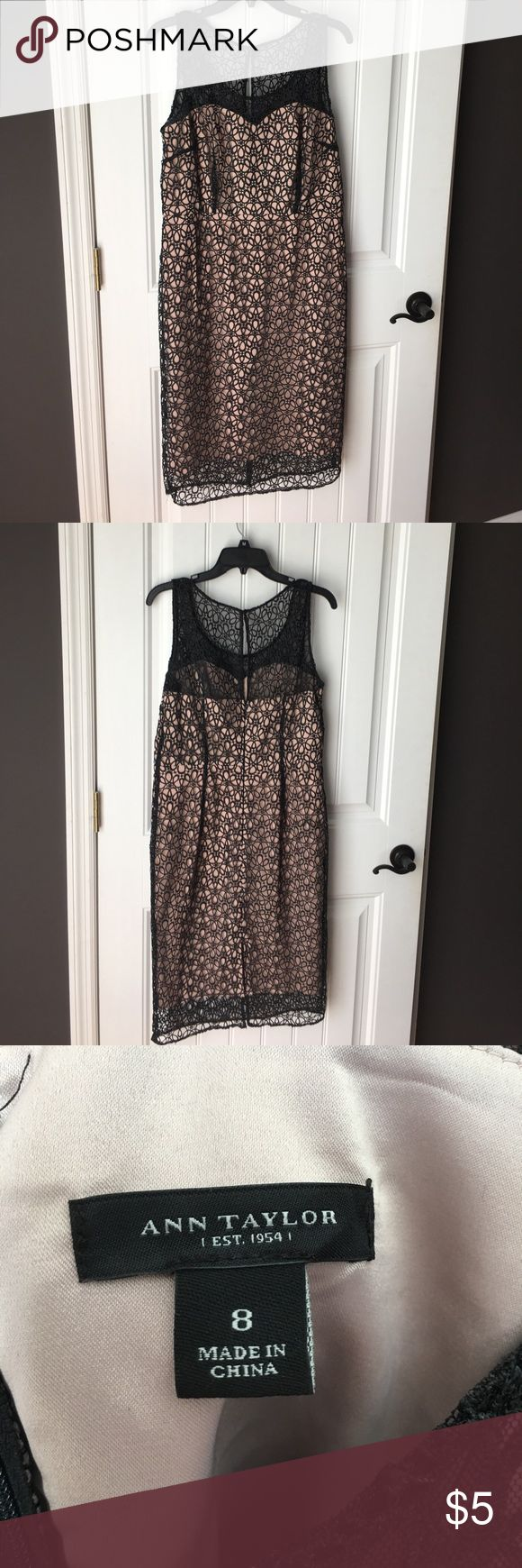 Ann Taylor Cocktail Dress Beautiful black lace cocktail dress with nude lining. Perfect dress for that perfect occasion. Ann Taylor Dresses Wedding