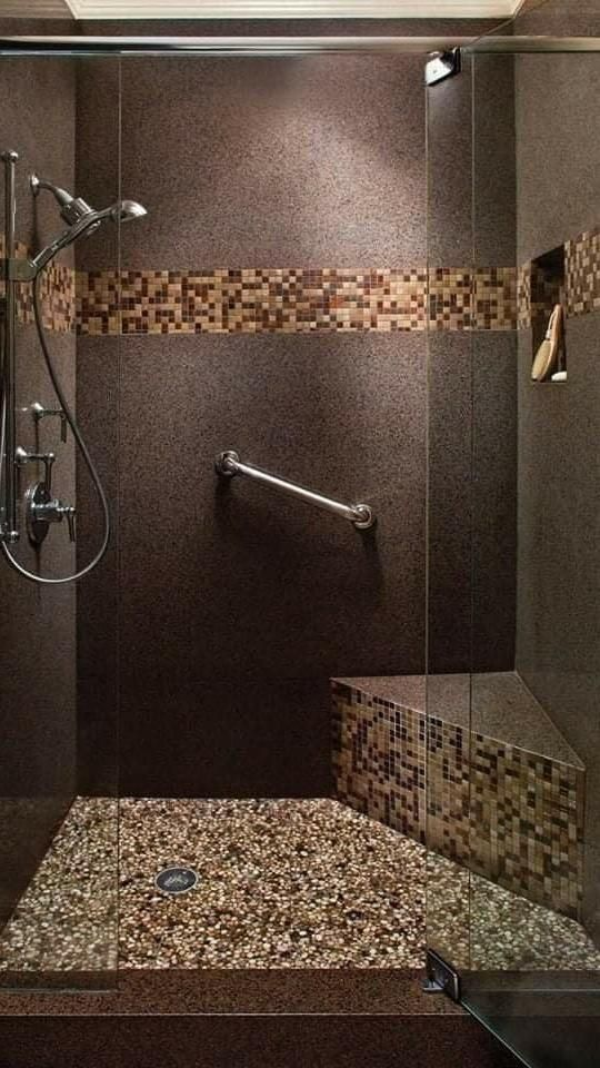 Dream Bathrooms, Beautiful Bathrooms, Modern Bathroom, Master Bathroom, Modern Shower, Master Shower, Tiled Bathrooms, Serene Bathroom, Peach Bathroom