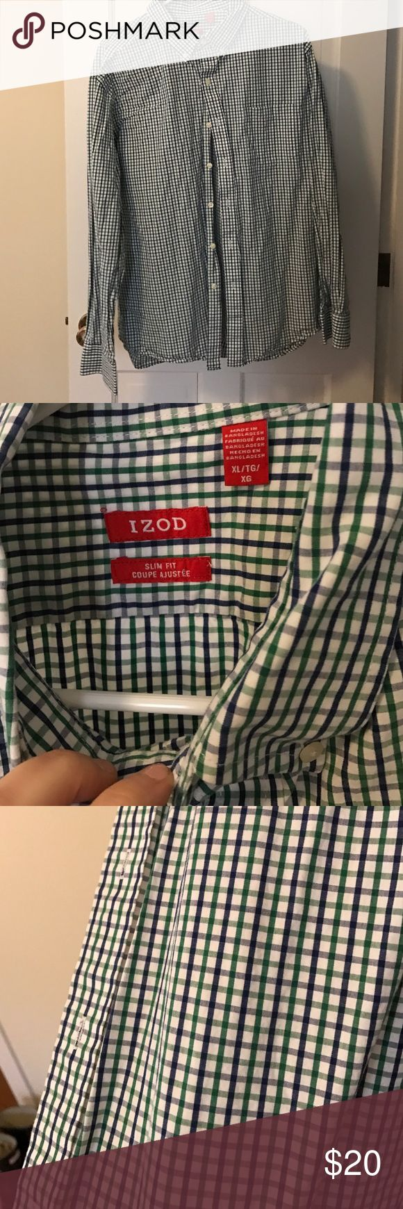 Izod blue and green shirt I am cleaning out my husbands closet. He has more than 50 shirts from JCrew that we are going through. All are XLARGE and in great condition. Please consider bundling to save. Please msg for more info. Izod Shirts