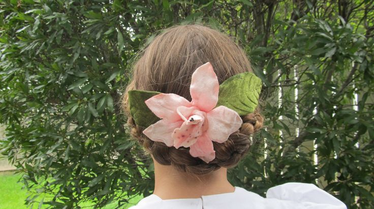 velvet hair flower on comb
