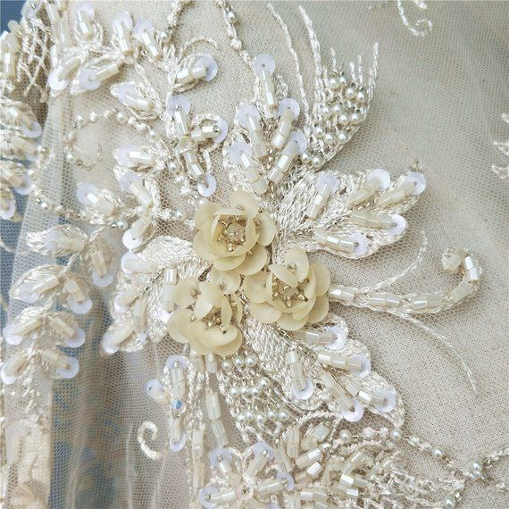 ivory beaded lace applique bridal wedding sequined floral lace motif on organza