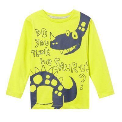 bluezoo Boy's lime dinosaur print long sleeved top- at Debenhams.com