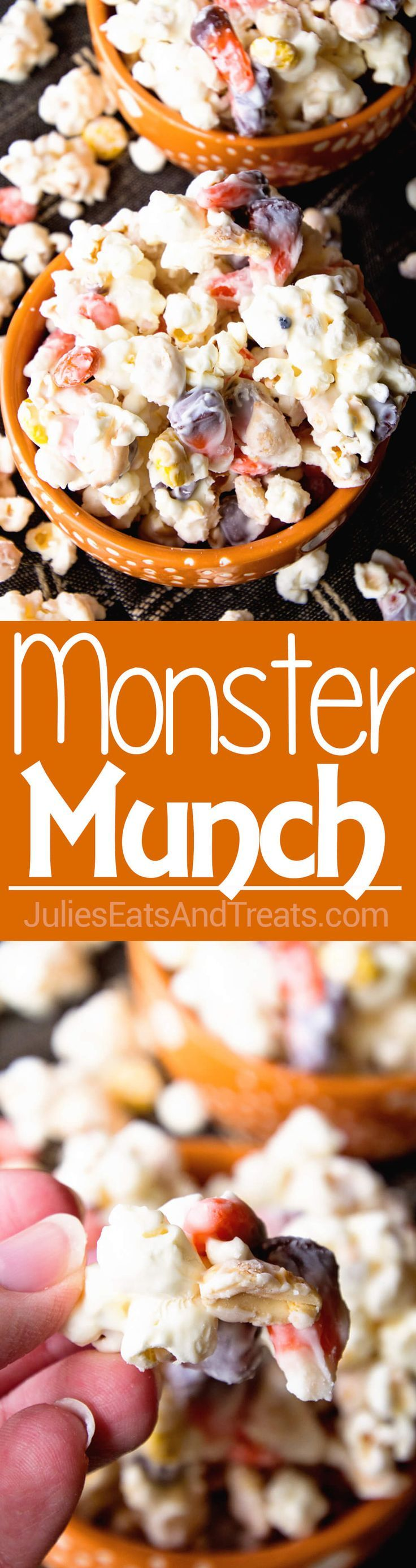 Monster Munch Halloween Snack Mix ~ Sweet & Salty Snack Mix Loaded with Popcorn, Candy Corn, Peanuts & Reese's Pieces! via @julieseats