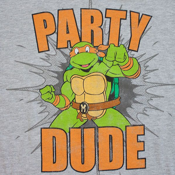 Teenage Mutant Ninja Turtles Party Dude T Shirt Grey For