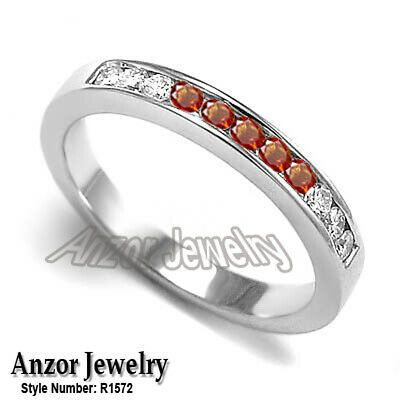 SVC-JEWELS Mens 14k Black Gold Over Channel Set Round Orange Sapphire Wedding Band Anniversary Ring