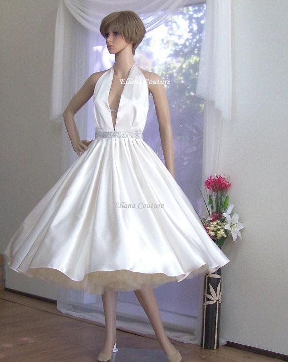 50s Style True Romance Ivory Silk Tea Length Halter Wedding Dress