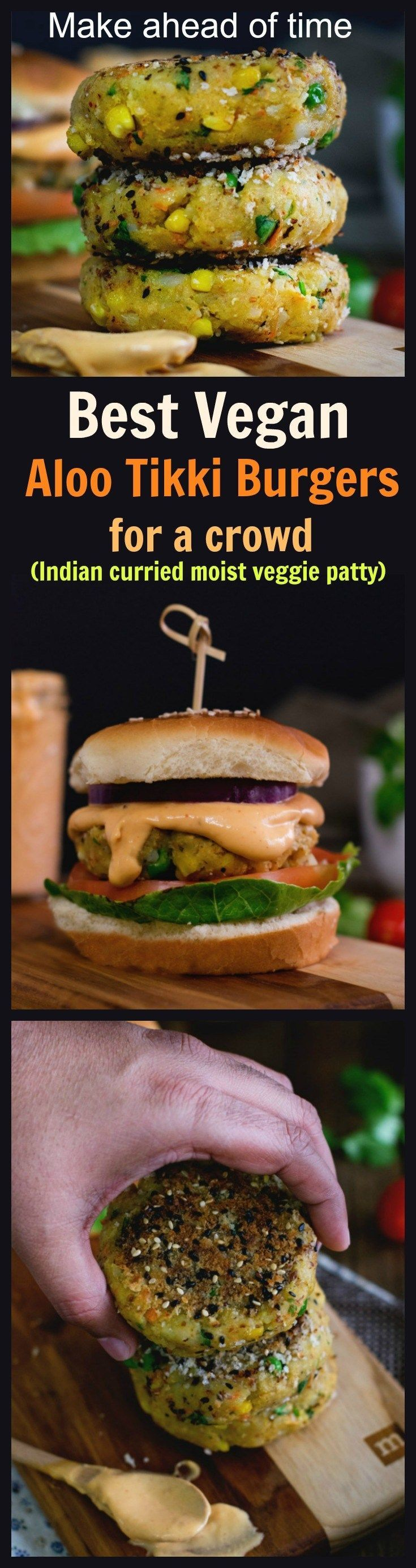 Vegan vegetable aloo tikki burgers with gluten free options. Delicious Indian curried patty slathered with killer 3 ingredient burger sauce. A breeze to make ahead of time.