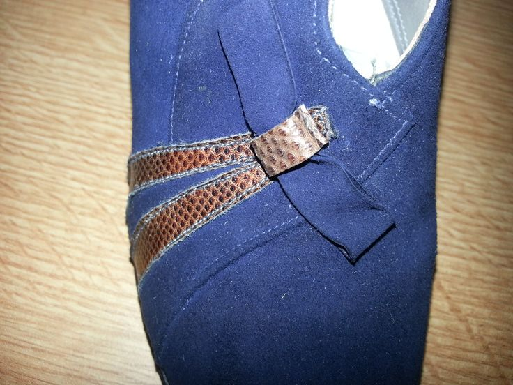 Womens Blue suede court shoes with front detail 1942