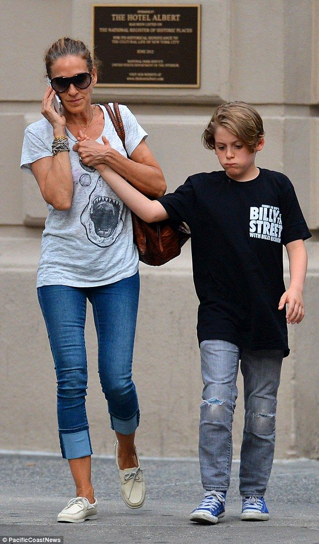 He's so tall now: Sarah Jessica Parker was seen with her 12-year-old son James in New York...
