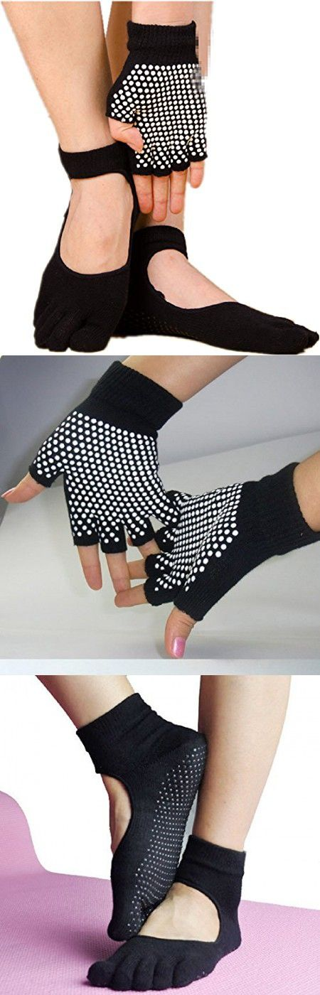 C.X Trendy Yoga Pilates Socks and Gloves Set, Cotton and Non Slip (One size, Black (group 8))