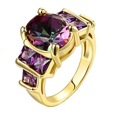 Ring Statement Rings AAA Cubic Zirconia Euramerican Fashion Personalized Luxury Sterling Silver Zircon Gold Plated Rose Gold Plated Women Jewelry – AUD $ 15.44