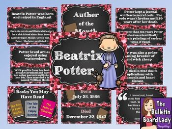 Beatrix Potter is the Author of the Month!  This download includes a colorful bulletin board, 4 book review sheets and a coloring sheet.The bulletin board contains:-a full page sheet with the authors name and clipart of the author-a full page sheet that says Author of the Month with no designated month so that you can use it any time-the authors birth and death date (if applicable)-8 facts about the author (2 per sheet)-a sheet with a few of the authors most popular books-a quote from the…