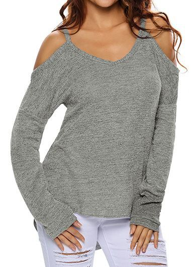 Long Sleeve Strappy Cold Shoulder Grey Sweater
