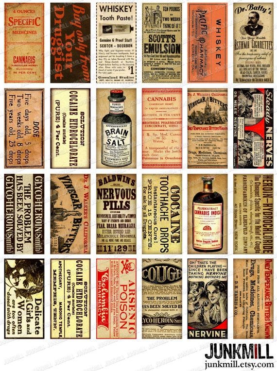 """DRUG THERAPY - Digital Printable Collage Sheet - Medicinal Cocaine, Heroin & Cannabis, Vintage Drugstore Apothecary Medicine Labels, 1"""" x 2"""""""