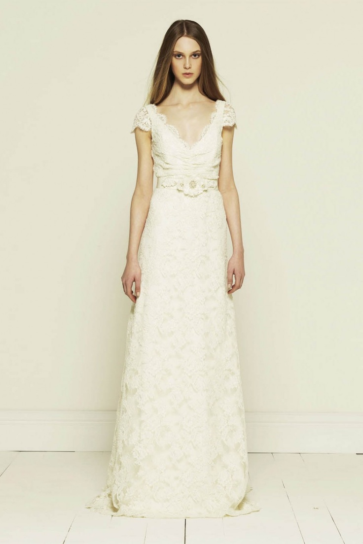 French Corded Lace Short Sleeve Wedding Dress With Train Collette Dinnigan 2012 Princess Diaries Bridal Collection