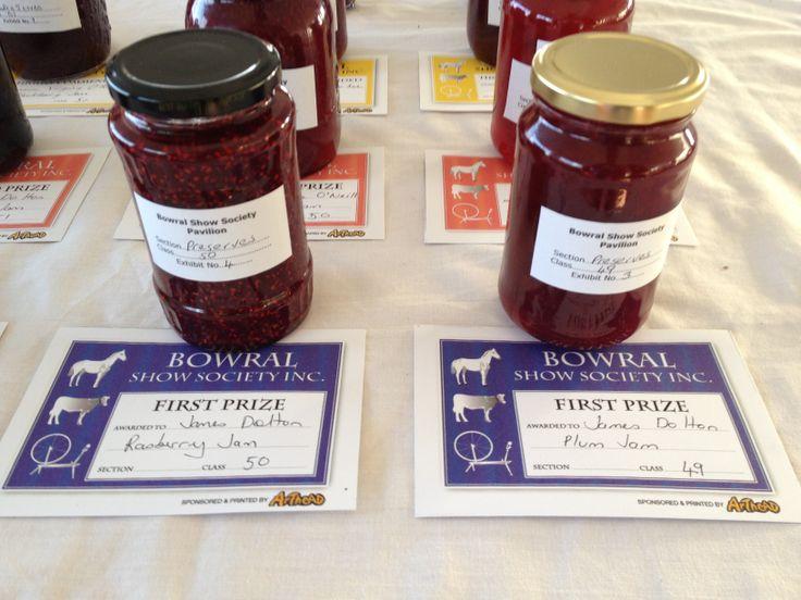 Prize winning jams. Bowral Show 2014.