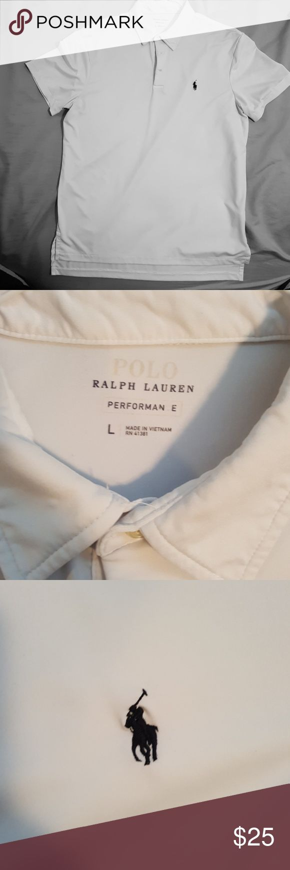 White Ralph Lauren polo Size large. Soft performance material. The shirt does have a small blue ink spot, it is pictured in the last pic, but it is pretty hard to see. It isn't noticeable on, only reason I'm selling is because my husband lost weight, but I don't want to deceive anyone. *make offer* Polo by Ralph Lauren Shirts Polos
