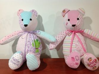 Bears made from baby's old clothes and sleepers.  Awesome keepsake.