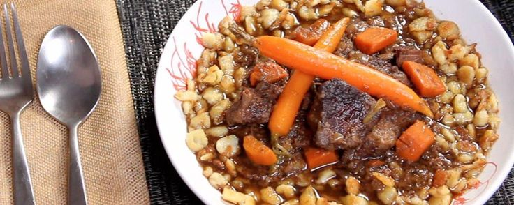This slow cooked beef stew is delicious on its own, or on top of some yummy spaetzle!