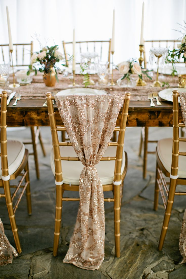 Romantic Glam Wedding Inspiration Gold Chair Covers