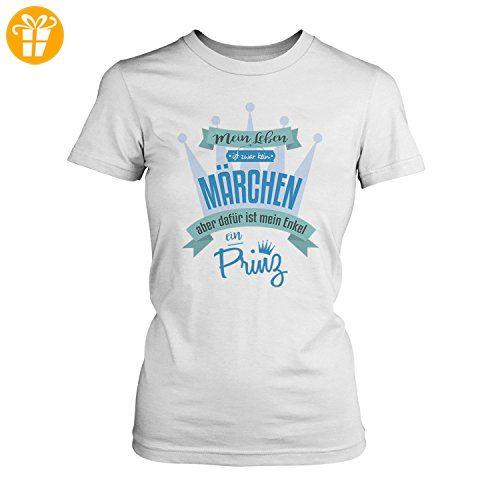 Fashionalarm Damen T-Shirt - Mein Leben ist kein Märchen aber mein Enkel ein Prinz   Fun Shirt mit Spruch als Geburtstag Geschenk Idee Oma, Farbe:weiß;Größe:XXL (*Partner-Link)