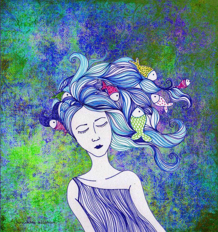 natatailustraciones:  pincoya: esta hermosa joven de largo pelo es el e...