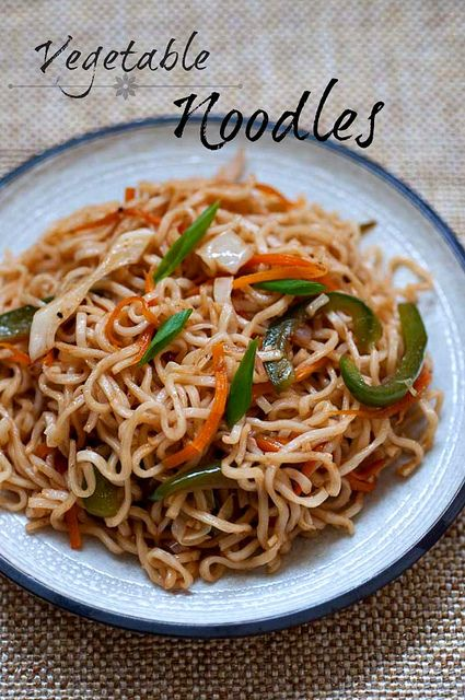 Vegetable Noodles Recipe - Indo Chinese Veg Noodles Recipe (I'm going to use whole wheat thin spachetti with this.)