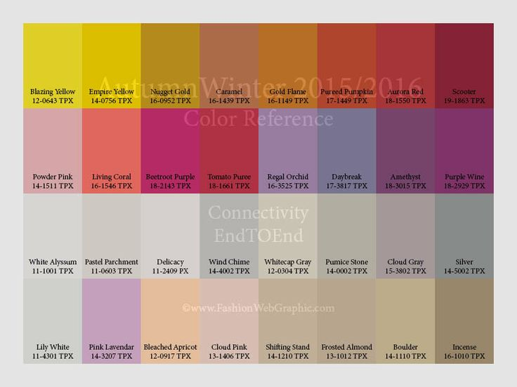 AutumnWinter 2015/2016 color reference for Women, Men, Intimate and Sport Apparel