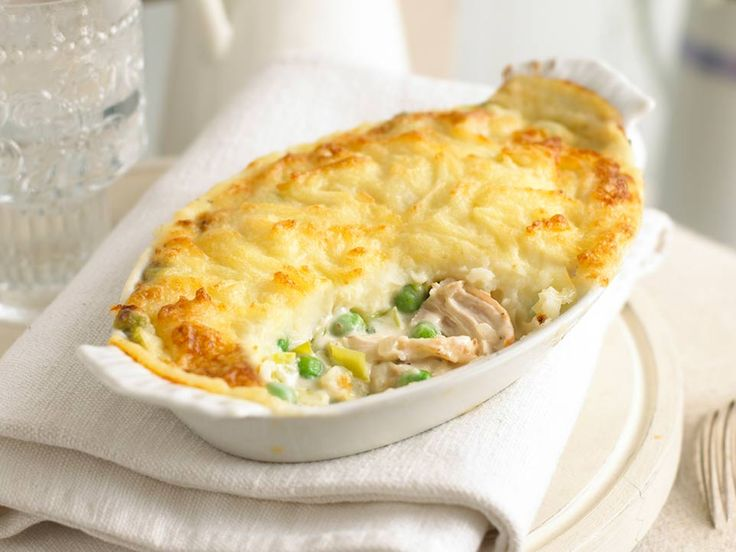 This is real comfort food - a tasty chicken pie in a delicious white sauce, topped with cheesy mashed potatoes. It is a great dish to store in the freezer for days when you don't want to cook.