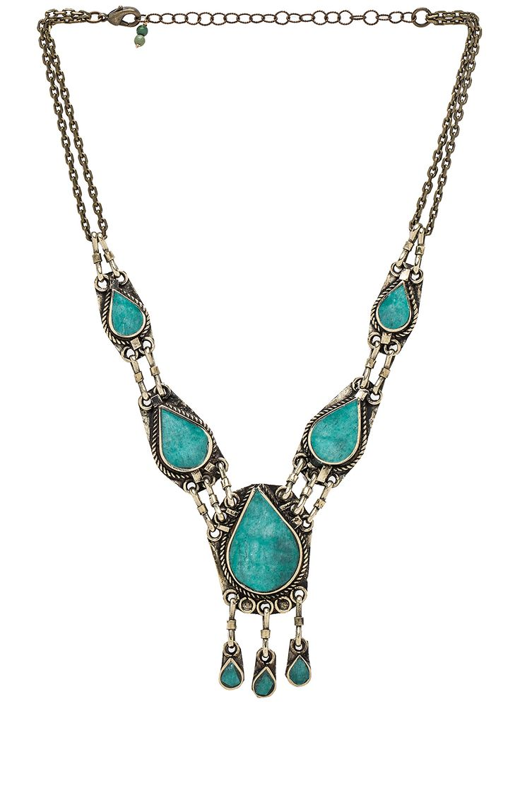 Natalie B Jewelry Natalie B Stone Drop Necklace in Green XmA5jn4t