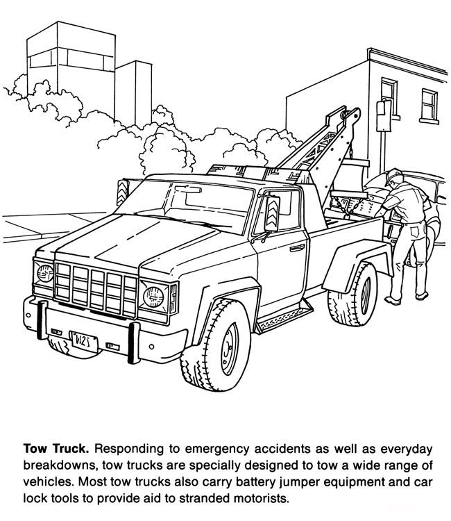Tow Truck Coloring Kids Activity Pages