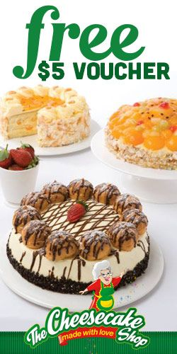 #Free $5 #Voucher for The #Cheesecake Shop