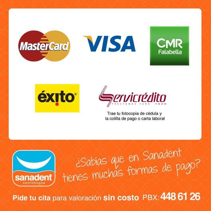 En Sanadent tienes muchas opciones de pago, llama ya y ¡Pide tu cita de valoración sin costo! Tel: 448 6126