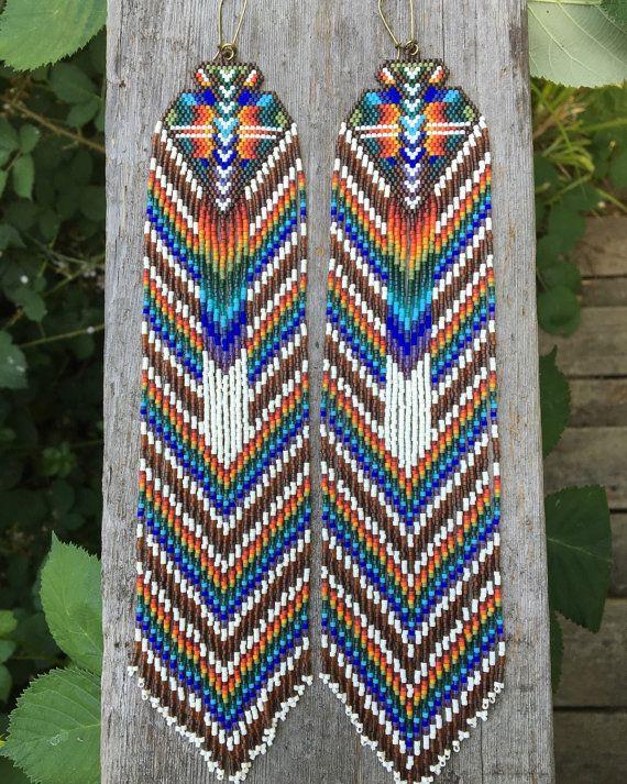 Tiamat...Fractal seed bead earrings, sacred geometry, handmade, OOAK, tribal, gypsy, boho, southwestern