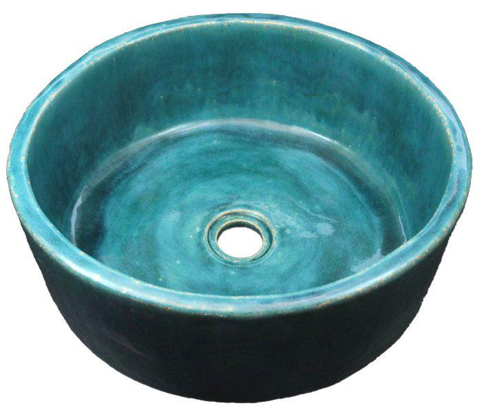 Turkusowa umywalka ręcznie formowana