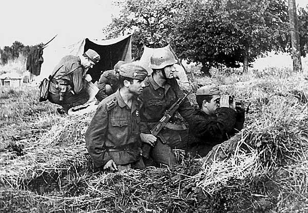 Bulgarian soldiers camped near Prague in September 1968 during Operation Danube - the Warsaw Pact's invasion and occupation of Czechoslovakia to suppress the 'Prague Spring' revolution.