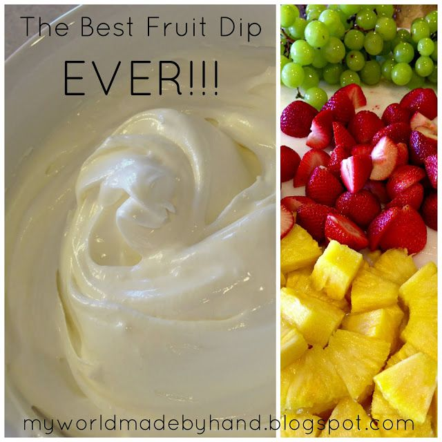 Mix 1 cup powdered sugar, 1 8 oz. brick of cream cheese and 1 7 oz. jar of Marshmallow Creme together.  Mix it good! Place your lovely deliciousness in the fridge for about 15 minutes and serve it up...with fresh fruit of course.