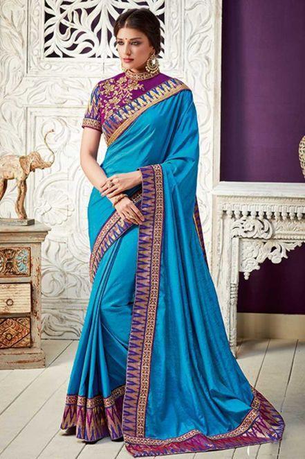 e58426a21837b9 Party  Sarees 2018 - Delightful Silk Indian Saree in Sky Blue ...