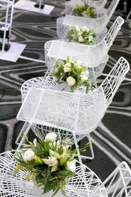 white wire chairs, white Arrowe chairs, event styling, fashion parade styling, event furniture hire gold coast, event hire brisbane