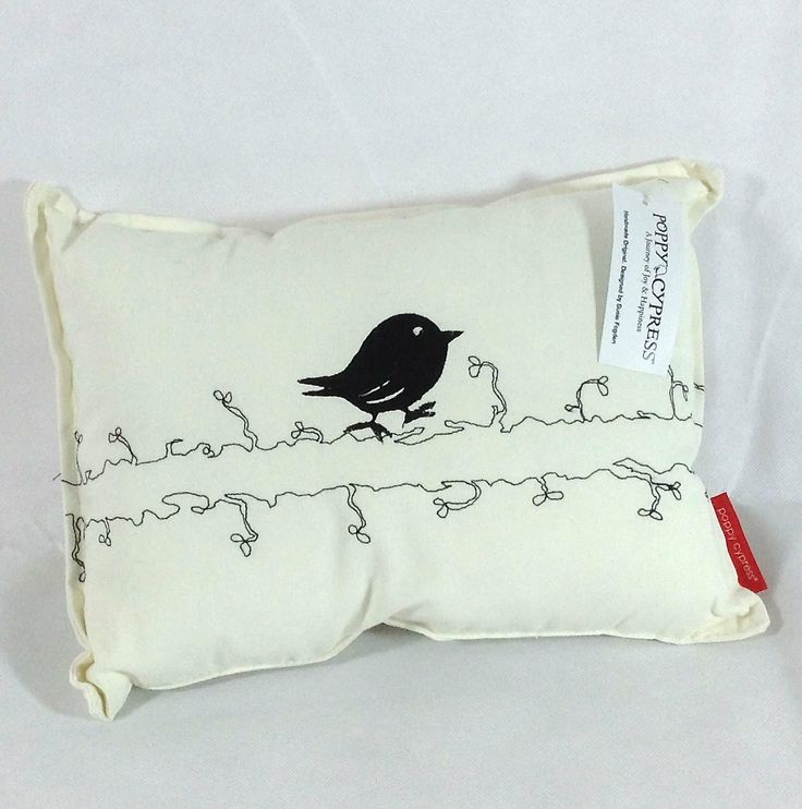 Poppy Cypress - Small Signature Bird Cushion - Black #handmade #cushions #home #gifts