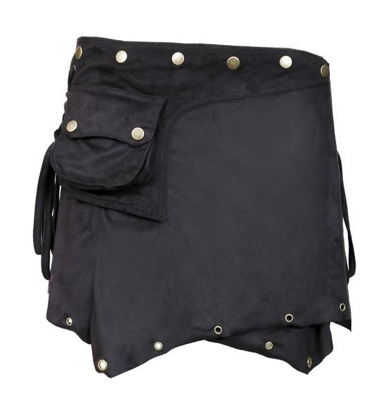Ladies Suede Mini Skirt. Wrap around Style with Button Closure Design.