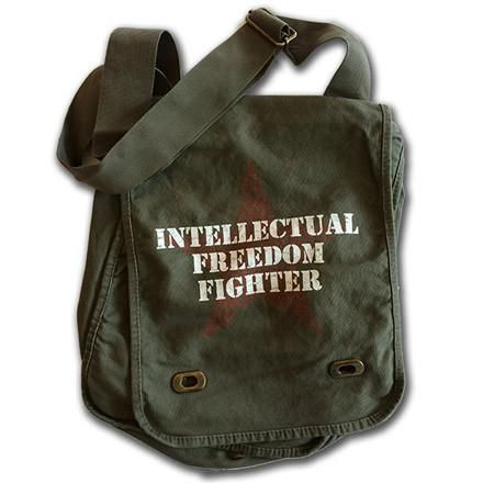 "Make a stand for intellectual freedom by carrying your banned books in these attractive and capacious green khaki canvas bags with distressed design consists of white stenciled lettering on red star containing the name of the most-banned books.  The bestselling messenger bag has adjustable strap, magnetic latches, inside key ring, zippered pencil pouch, and two side pockets perfect for your phone and reading glasses. 16""x11""x4""  The new field bag has adjustable strap, twist lat..."