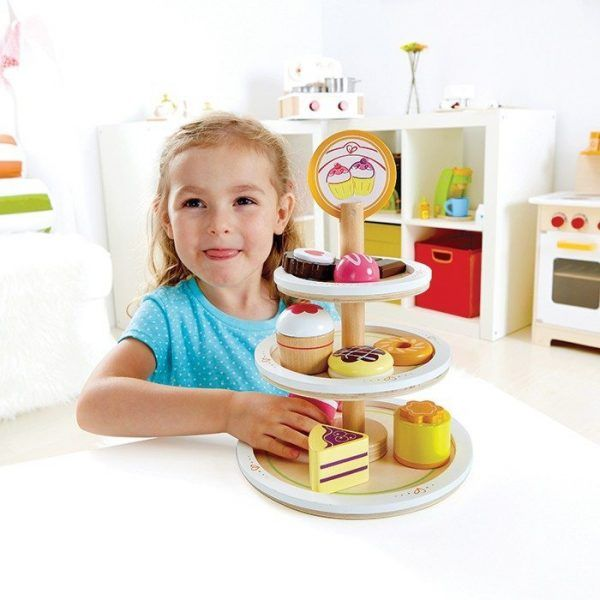 The colourful three tier dessert tower is a must for everyone with a sweet tooth. The 10 piece wooden set comes with the cake stand and 9 delicious sweet treats. Children will love playing parties whether it be a high tea of a baby shower, watch the imaginations take over.