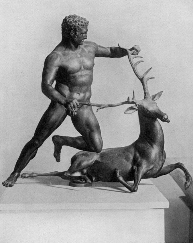Heracles with a stag. Bronze. Palermo, Regional Archaeological Museum.