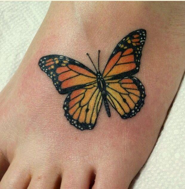 Monarch butterfly tattoo, foot